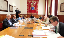 Un momento durante la reunión de la Junta de Portavoces